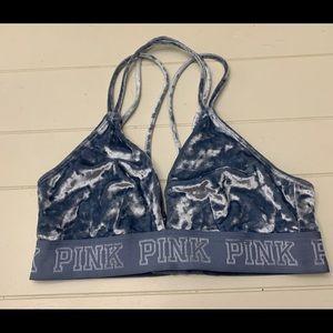 Victorias Secret PINK Logo Velvet Unlined Blue Bra